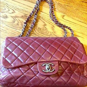 CHANEL Authentic Wine JUMBO Quilted Flap Hand bag